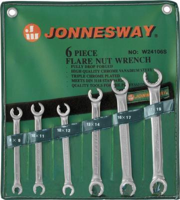 Набор рожковых ключей JONNESWAY W24106S (6 - 19 мм) 6 шт. шпильковерт 6 мм jonnesway ag010061 6