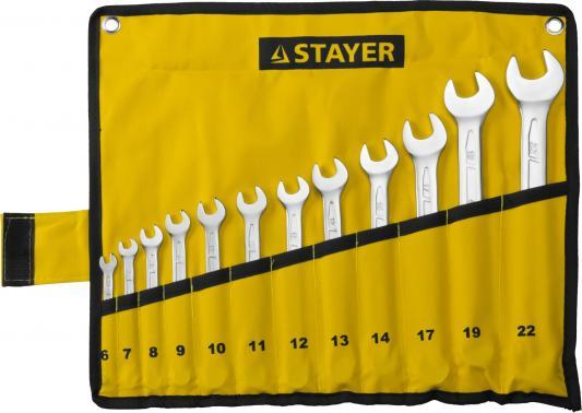 Набор комбинированных ключей STAYER 27081-H12 (6 - 22 мм) 12 шт. ключ комбинированный stayer profi 27081