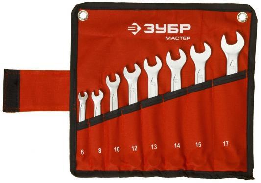 Набор комбинированных ключей ЗУБР 27087-H8 (6 - 17 мм) 8 шт. force 5121 набор комбинированных ключей 8 23 мм