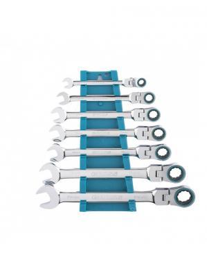 Набор ключей комбинированных GROSS 14891 с трещоткой, 8 - 19 мм, 7шт., шарнирные, CrV цена