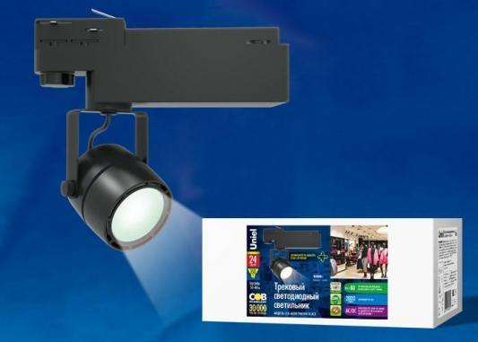 Трековый светодиодный светильник (UL-00002398) Uniel ULB-M08H-24W/NW Black трековый светодиодный светильник ul 00002361 uniel ulb m08h 24w ww white