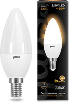 Лампа светодиодная GAUSS 103101107 LED Candle E14 6.5W 3000К gauss лампа светодиодная gauss candle свеча матовая e27 9 5w 3000к 103102110