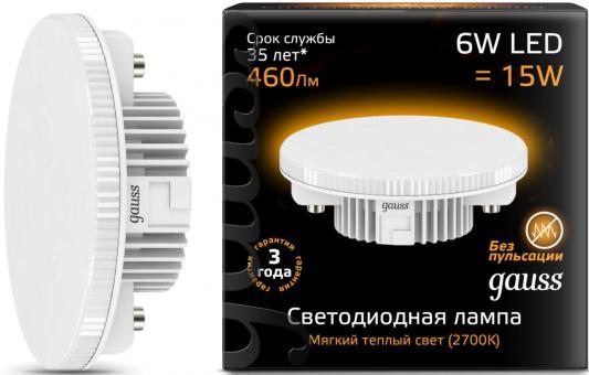 купить Лампа светодиодная GAUSS 108008106 LED GX53 6W 2700K по цене 180 рублей