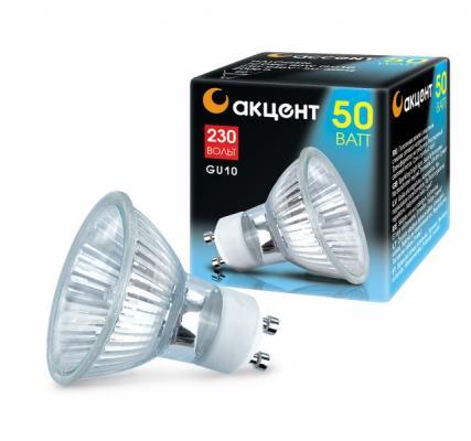 Лампа галогенная АКЦЕНТ JCDRC 230В 50W GU10 с отражателем и защитным стеклом лампа галогенная акцент mr16 12в 20w 36° gu5 3 с отражателем и защитным стеклом