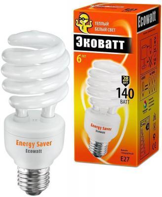 Лампа энергосберегающая ECOWATT SP 28W 827 E27 тёплый белый свет витая, люминисцентная. лампа энергосберегающая e27 20w f sp 4200k дневной свет эра