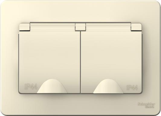 Розетка SCHNEIDER ELECTRIC BLNRS441122 Blanca 2-м сп 16А 250В защ. шторки с заземл. с крышками ip4