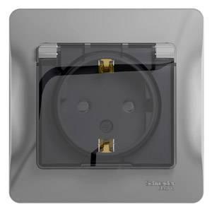 Розетка SCHNEIDER ELECTRIC GLOSSA 1063750 с заземлением со шторками с крышкой. 16А. IP44. АЛЮМИНИЙ