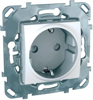 Механизм розетки SCHNEIDER ELECTRIC MGU5.037.18ZD Unica 1-м с заземл. защ. шторки бел.