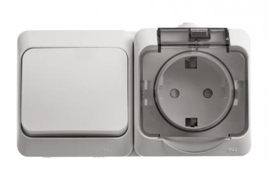 Блок SCHNEIDER ELECTRIC BPA16-241B Этюд оп 1-кл. выкл. + евророз. защ. шторки IP44 бел.