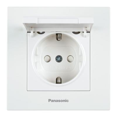 Механизм розетки PANASONIC WKTT0210-2WH-RES Karre Plus с/з с крышкой белая