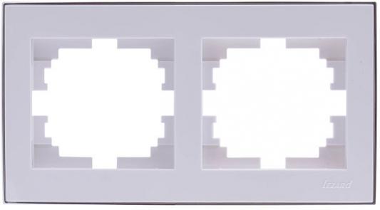 Рамка LEZARD 703-0225-147 серия Рейн 2-ая горизонтальная белый с хромовой вставкой