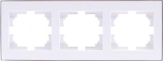 Рамка LEZARD 703-0225-148 серия Рейн 3-ая горизонтальная белый с хромовой вставкой