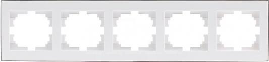 Рамка LEZARD 703-0225-150 серия Рейн 5-ая горизонтальная белый с хромовой вставкой