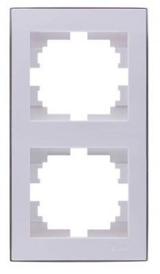 Рамка LEZARD 703-0225-152 серия Рейн 2-ая вертикальная белый с хромовой вставкой