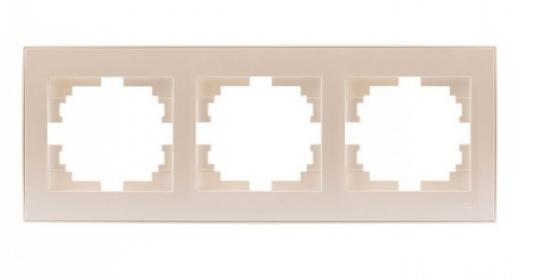 Рамка LEZARD 703-3030-148 серия Рейн 3-ая горизонтальная жемчужно-белый