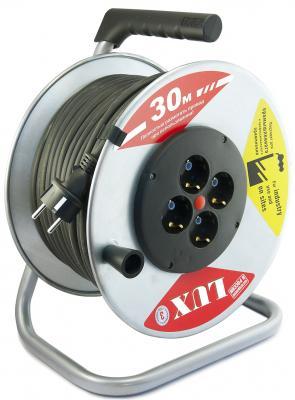 Удлинитель силовой LUX 45130 на металл. катушке К4-Е-30 КГ 3x2.5 30м 16А 4розетки с з/к от -40°С