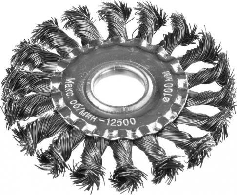 Кордщетка DEXX 35100-100 дисковая для УШМ жгутированные пучки сталь0.5мм 100мм/22мм кордщетка dexx 35110 100 дисковая со шпилькой витая сталь0 3мм d100мм