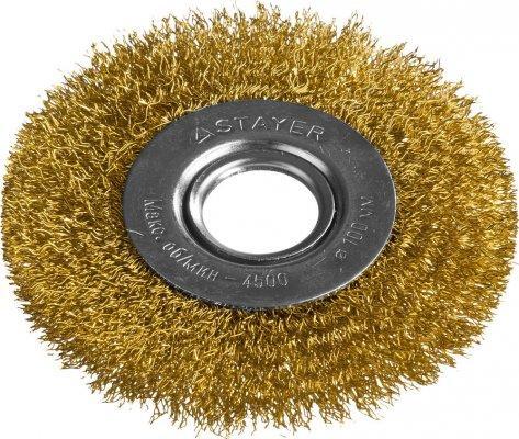 Кордщетка STAYER PROFESSIONAL 35122-100 д/УШМ витая стальная латун.проволока 0.3мм 100мм/22мм кордщетка stayer professional 35135 125