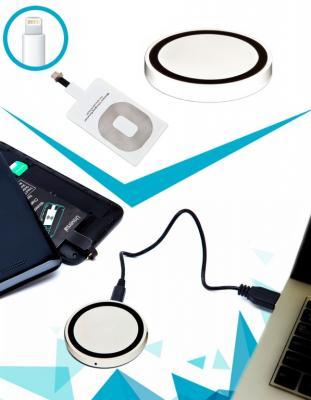 Аккумулятор беспроводной круглый для смартфонов с Lightning разъемом, белый SU 0049 цена
