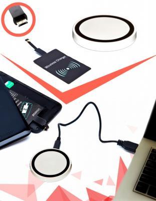 Аккумулятор беспроводной круглый для смартфонов с Micro USB разъемом, белый SU 0047