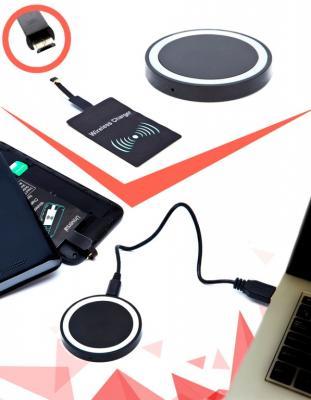 Аккумулятор беспроводной круглый для смартфонов с Micro USB разъемом, черный SU 0048