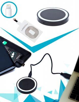 Аккумулятор беспроводной круглый для смартфонов с Lightning разъемом, черный SU 0050 круглый беспровод аккумулятор bradex круглый беспровод аккумулятор