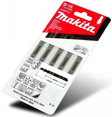 Пилка для лобзика MAKITA A-85715 B-19 дерево\\пластик, без сколов, 100мм, шаг 2.1, обр.зуб, HCS,5шт.