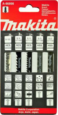 Пилки для лобзика (набор) MAKITA A-86898 5шт.: В-10S,В-13,В-16,В-22,В-23 набор пилок для лобзика makita a 85787