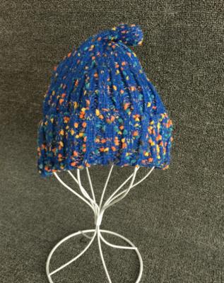 Шапка вязанная синяя с точкой AS 0300 шапка женская bradex цвет бежевый as 0304 размер универсальный