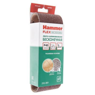 Лента шлиф. Hammer Flex 212-001  75 Х 457 Р 40 по 3 шт.