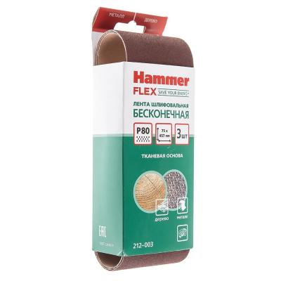 Лента шлиф. Hammer Flex 212-003  75 Х 457 Р 80 по 3 шт.