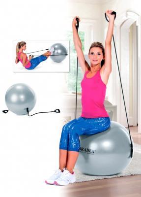Мяч для фитнеса «ФИТБОЛ-65 с эспандерами» SF 0216 палка гимнастическая с эспандерами bradex пилатес студио sf 0072