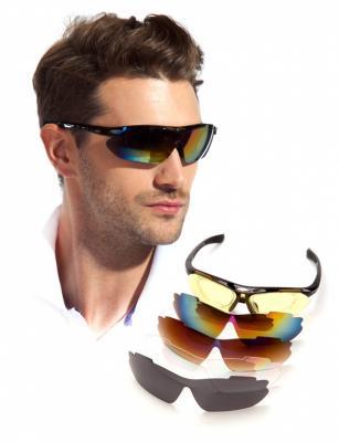 Очки спортивные солнцезащитные с 5 сменными линзами в чехле, черные SF 0156