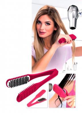 Расческа для выпрямления волос феном «ШЕЛКОВЫЕ ПРЯДИ» малиновая KZ 0376