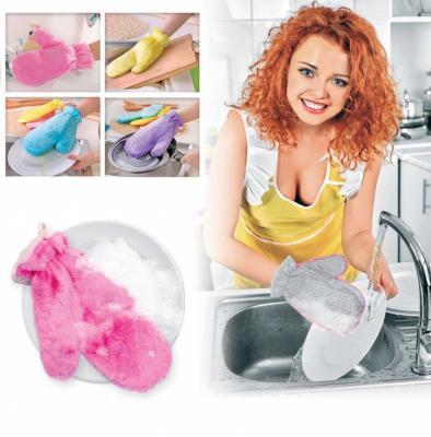 Варежкa двусторонняя для мытья посуды и уборки, фиолетовая TK 0203 органайзер для мытья посуды bradex caddy sink tidy