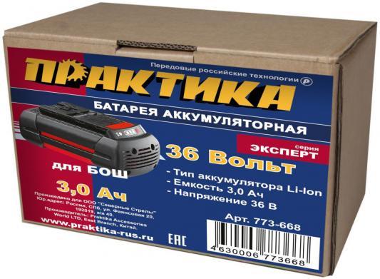 Аккумулятор ПРАКТИКА 773-668 36.0В 3.0Ач LiION для BOSCH еж стайл линейка коняшка цвет антрацитовый 15 см