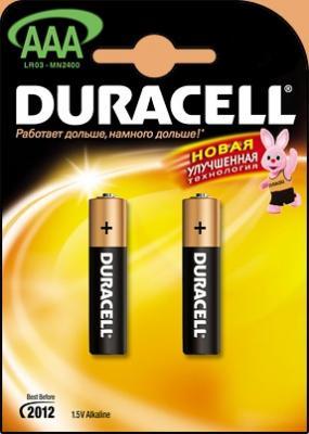 Батарейка DURACELL LR03-2BL 1.5В AAA (тонкая) (цена за шт,в блистере 2шт) duracell lr6 2bl turbo 2шт aa