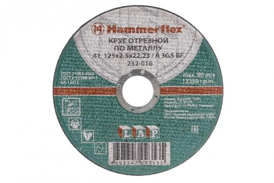 125 x 2.5 x 22,23 A 30 S BF Круг отрезной Hammer Flex 232-016 по металлу отрезной круг hammer flex 232 018 по металлу 86898