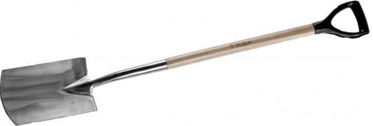 Лопата ЗУБР 4-39417 эксперт штыковая прямоуг. из нерж. стали дер.чер.290х180х1200мм цена
