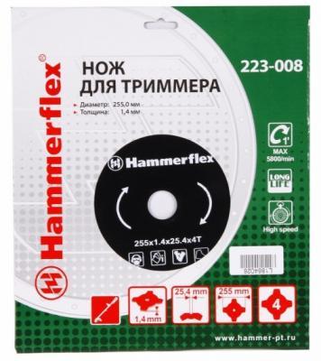 Нож для триммера Hammer Flex 223-008 закаленная сталь, круглый, 4 зуба, толщина 1,4 мм, d=255 мм