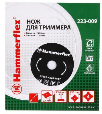 Нож для триммера Hammer Flex 223-009 закаленная сталь, круглый, 4 зуба, толщина 2,4 мм, d=255 мм [sa] new original authentic special sales festo connector sgs m8 stock 009 255 5pcs lot