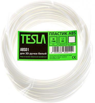 Пластик ABS TESLA ABS01 для 3D ручки белый 10м pla пластик для 3d ручки tesla pla09 серебристый