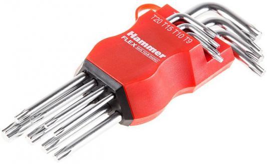 Набор торцевых ключей Hammer Flex 601-031 TORX 8 шт.: T9, T10, T15, T20, T25, T27, T30, T40, CRV abc t9 electric screwdriver torx bits set silver grey 5mm shank t9
