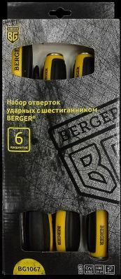 Набор отверток BERGER BG1067 ударных с шестигранником 6предметов набор ударных отверток jonnesway d70105sc