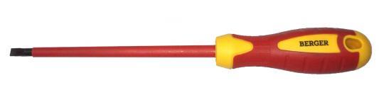 Отвертка BERGER BG1051 шлицевая 0.4x2.5x75мм диэлектрическая до 1000В отвертка шлицевая berger bg1044 8x150мм