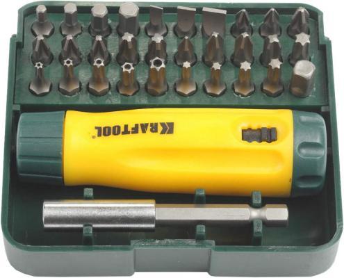 Набор KRAFTOOL 26142-H32 отвертка реверсивная с битами и адаптером Cr-V 32 предмета отвертка kraftool 26155 h29