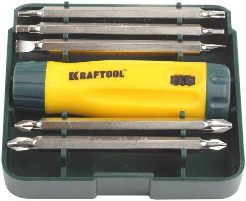 Набор KRAFTOOL 26141-H6 отвертка реверсивная с двухсторонними удлиненн битами Cr-V 6 шт отвертка реверсивная с битами kraftool 25550 h10