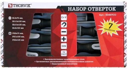 Набор отверток THORVIK SDS07CO стержневых, 7 предметов набор инструментов thorvik uts0056 56 предметов [52057]