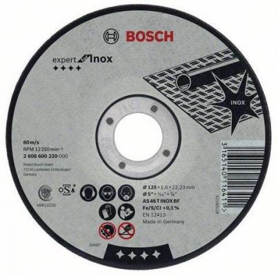 Круг отрезной BOSCH Expert for Inox 115x2,0x22 (2.608.600.093) по нержавеющей стали круг отрезной bosch 180х3х22 expert for stone 2 608 600 317