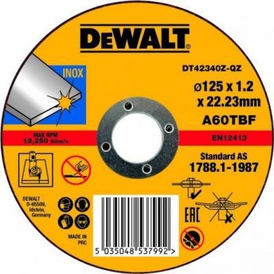 Круг отрезной DEWALT DT42340Z-QZ Ф125x22.2х1.2мм по металлу круг алмазный dewalt dt3722qz